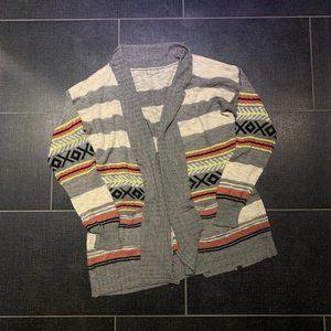 Eyeshadow Striped Aztec Print Long Open Cardigan